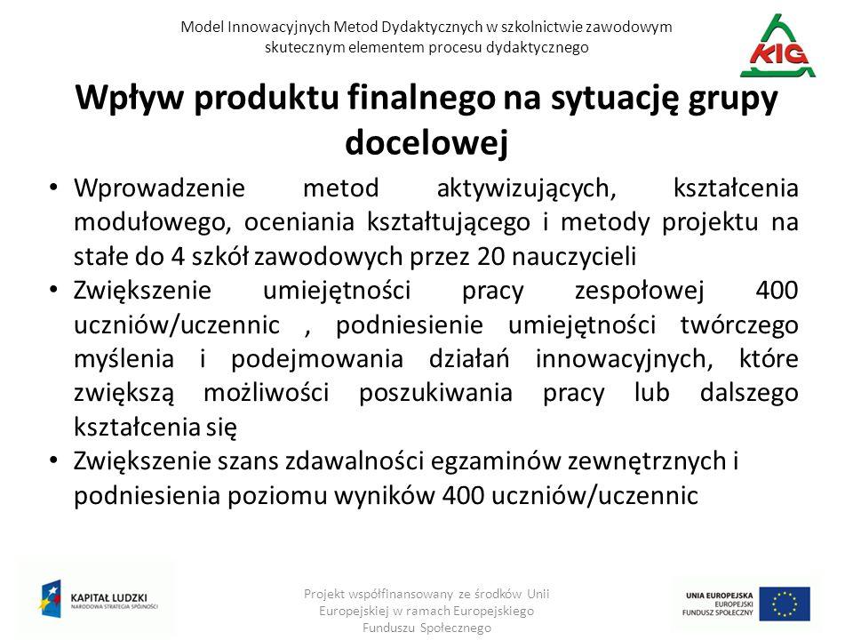 Model Innowacyjnych Metod Dydaktycznych w szkolnictwie zawodowym skutecznym elementem procesu dydaktycznego Projekt współfinansowany ze środków Unii E