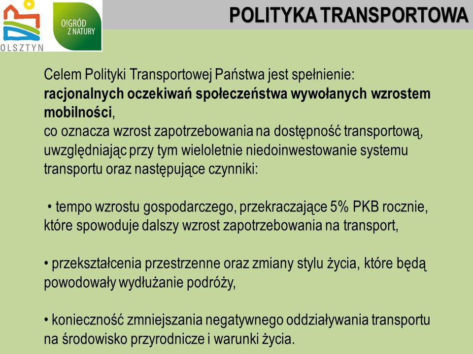 Celem Polityki Transportowej Państwa jest spełnienie: racjonalnych oczekiwań społeczeństwa wywołanych wzrostem mobilności, co oznacza wzrost zapotrzebowania na dostępność transportową, uwzględniając przy tym wieloletnie niedoinwestowanie systemu transportu oraz następujące czynniki: tempo wzrostu gospodarczego, przekraczające 5% PKB rocznie, które spowoduje dalszy wzrost zapotrzebowania na transport, przekształcenia przestrzenne oraz zmiany stylu życia, które będą powodowały wydłużanie podróży, konieczność zmniejszania negatywnego oddziaływania transportu na środowisko przyrodnicze i warunki życia.