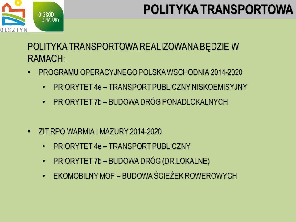 POLITYKA TRANSPORTOWA REALIZOWANA BĘDZIE W RAMACH: PROGRAMU OPERACYJNEGO POLSKA WSCHODNIA 2014-2020 PROGRAMU OPERACYJNEGO POLSKA WSCHODNIA 2014-2020 PRIORYTET 4e – TRANSPORT PUBLICZNY NISKOEMISYJNY PRIORYTET 4e – TRANSPORT PUBLICZNY NISKOEMISYJNY PRIORYTET 7b – BUDOWA DRÓG PONADLOKALNYCH PRIORYTET 7b – BUDOWA DRÓG PONADLOKALNYCH ZIT RPO WARMIA I MAZURY 2014-2020 ZIT RPO WARMIA I MAZURY 2014-2020 PRIORYTET 4e – TRANSPORT PUBLICZNY PRIORYTET 4e – TRANSPORT PUBLICZNY PRIORYTET 7b – BUDOWA DRÓG (DR.LOKALNE) PRIORYTET 7b – BUDOWA DRÓG (DR.LOKALNE) EKOMOBILNY MOF – BUDOWA ŚCIEŻEK ROWEROWYCH EKOMOBILNY MOF – BUDOWA ŚCIEŻEK ROWEROWYCH POLITYKA TRANSPORTOWA