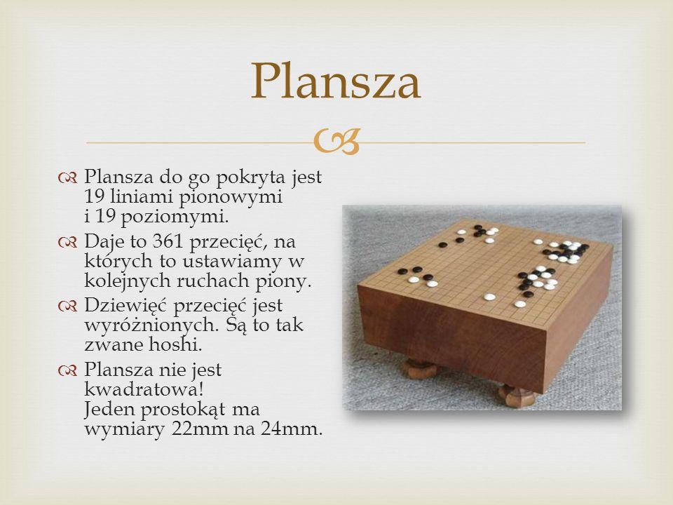  Plansza  Plansza do go pokryta jest 19 liniami pionowymi i 19 poziomymi.