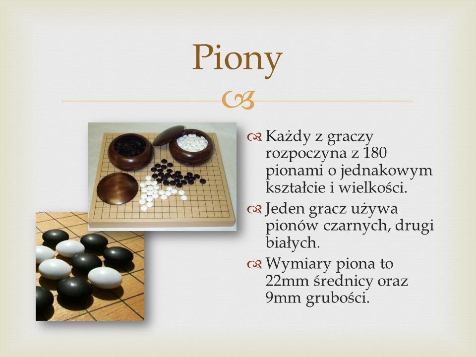  Piony  Każdy z graczy rozpoczyna z 180 pionami o jednakowym kształcie i wielkości.  Jeden gracz używa pionów czarnych, drugi białych.  Wymiary pi