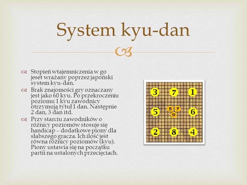  System kyu-dan  Stopień wtajemniczenia w go jeset wrażany poprzez japoński system kyu-dan.  Brak znajomości gry oznaczany jest jako 60 kyu. Po prz
