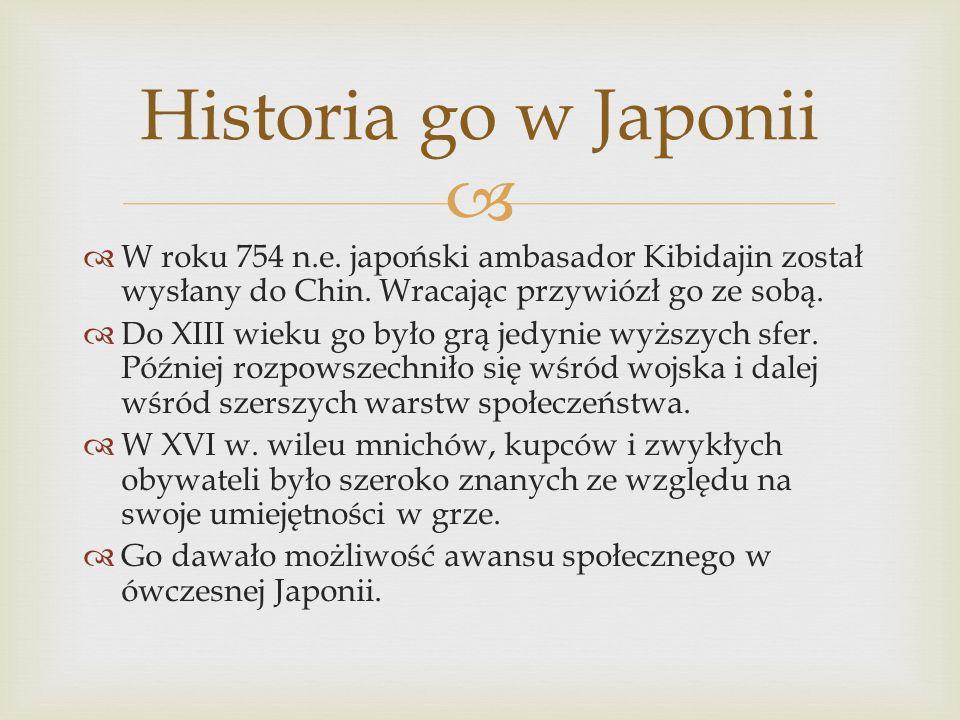   W roku 754 n.e. japoński ambasador Kibidajin został wysłany do Chin. Wracając przywiózł go ze sobą.  Do XIII wieku go było grą jedynie wyższych s