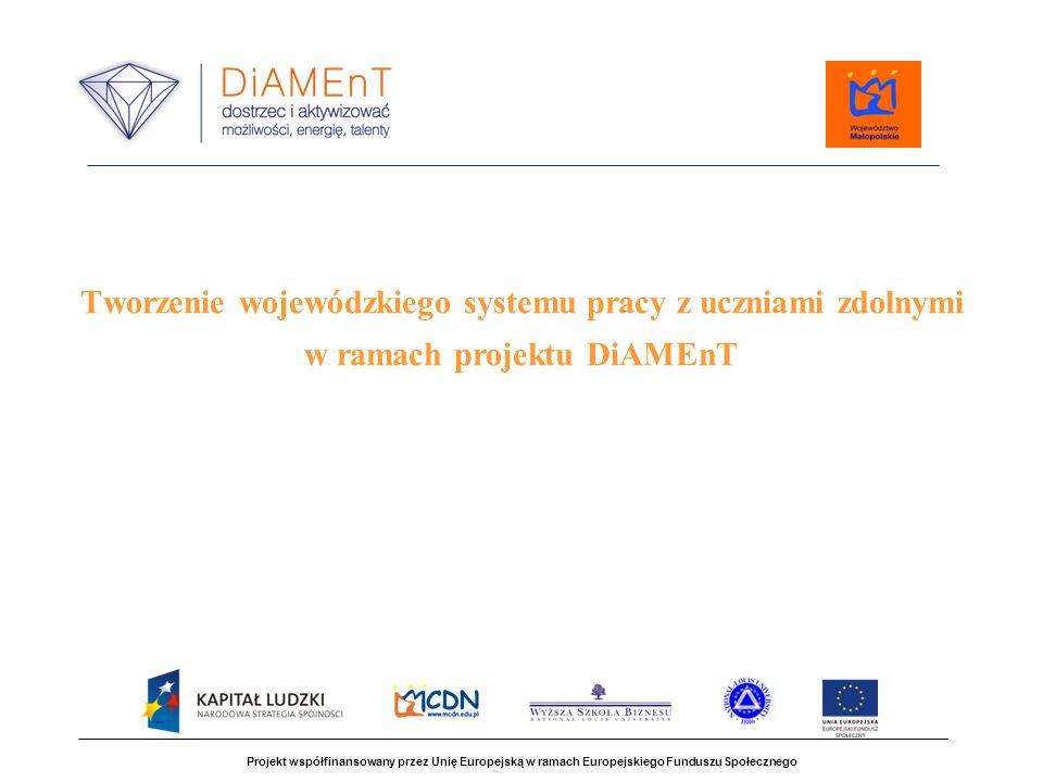 Kadra do pracy z uczniami zdolnymi  zespoły do projektowania programów pracy z uczniem zdolnym  edukatorzy - specjaliści projektu z zakresu pracy z uczniem zdolnym Projekt współfinansowany przez Unię Europejską w ramach Europejskiego Funduszu Społecznego Elementy systemu pracy z uczniami zdolnym