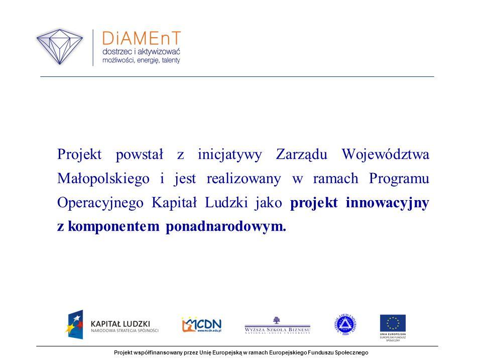 Projekt powstał z inicjatywy Zarządu Województwa Małopolskiego i jest realizowany w ramach Programu Operacyjnego Kapitał Ludzki jako projekt innowacyjny z komponentem ponadnarodowym.
