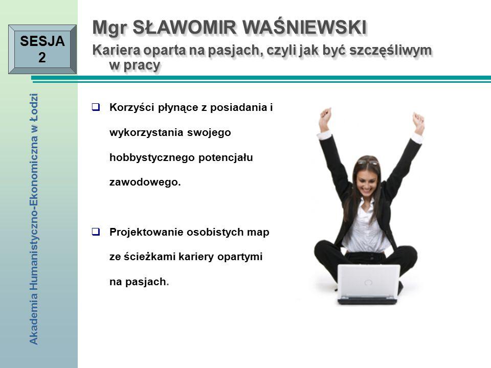 Akademia Humanistyczno-Ekonomiczna w Łodzi SESJA 2  Korzyści płynące z posiadania i wykorzystania swojego hobbystycznego potencjału zawodowego.