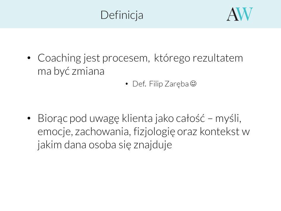 Definicja Coaching jest procesem, którego rezultatem ma być zmiana Def. Filip Zaręba Biorąc pod uwagę klienta jako całość – myśli, emocje, zachowania,