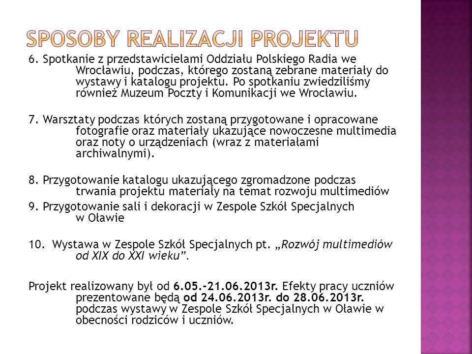 6. Spotkanie z przedstawicielami Oddziału Polskiego Radia we Wrocławiu, podczas, którego zostaną zebrane materiały do wystawy i katalogu projektu. Po