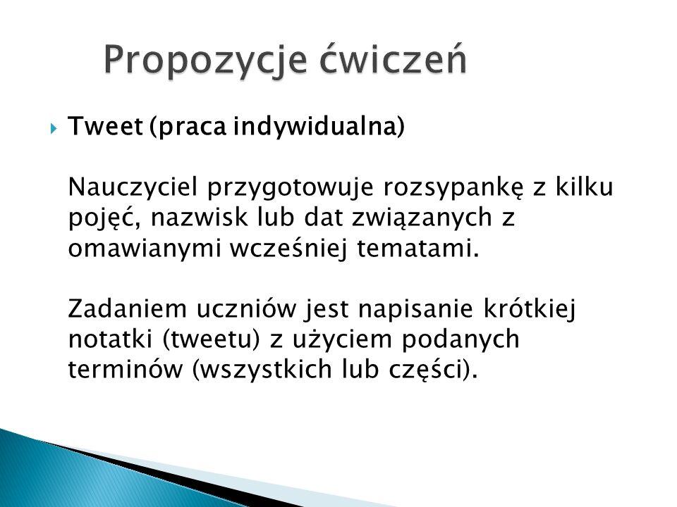  Tweet (praca indywidualna) Nauczyciel przygotowuje rozsypankę z kilku pojęć, nazwisk lub dat związanych z omawianymi wcześniej tematami.