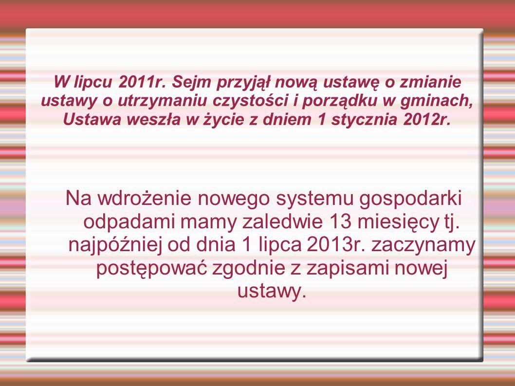 W lipcu 2011r. Sejm przyjął nową ustawę o zmianie ustawy o utrzymaniu czystości i porządku w gminach, Ustawa weszła w życie z dniem 1 stycznia 2012r.