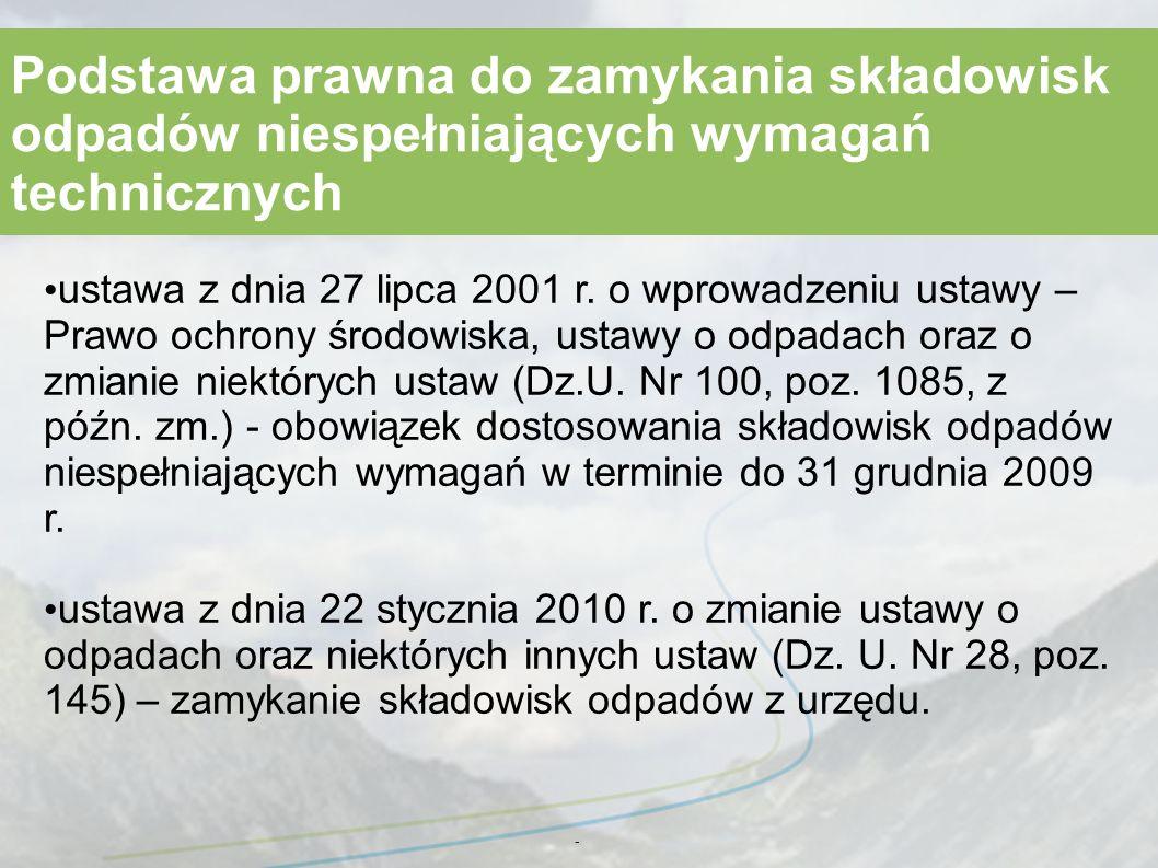 - Podstawa prawna do zamykania składowisk odpadów niespełniających wymagań technicznych ustawa z dnia 27 lipca 2001 r.