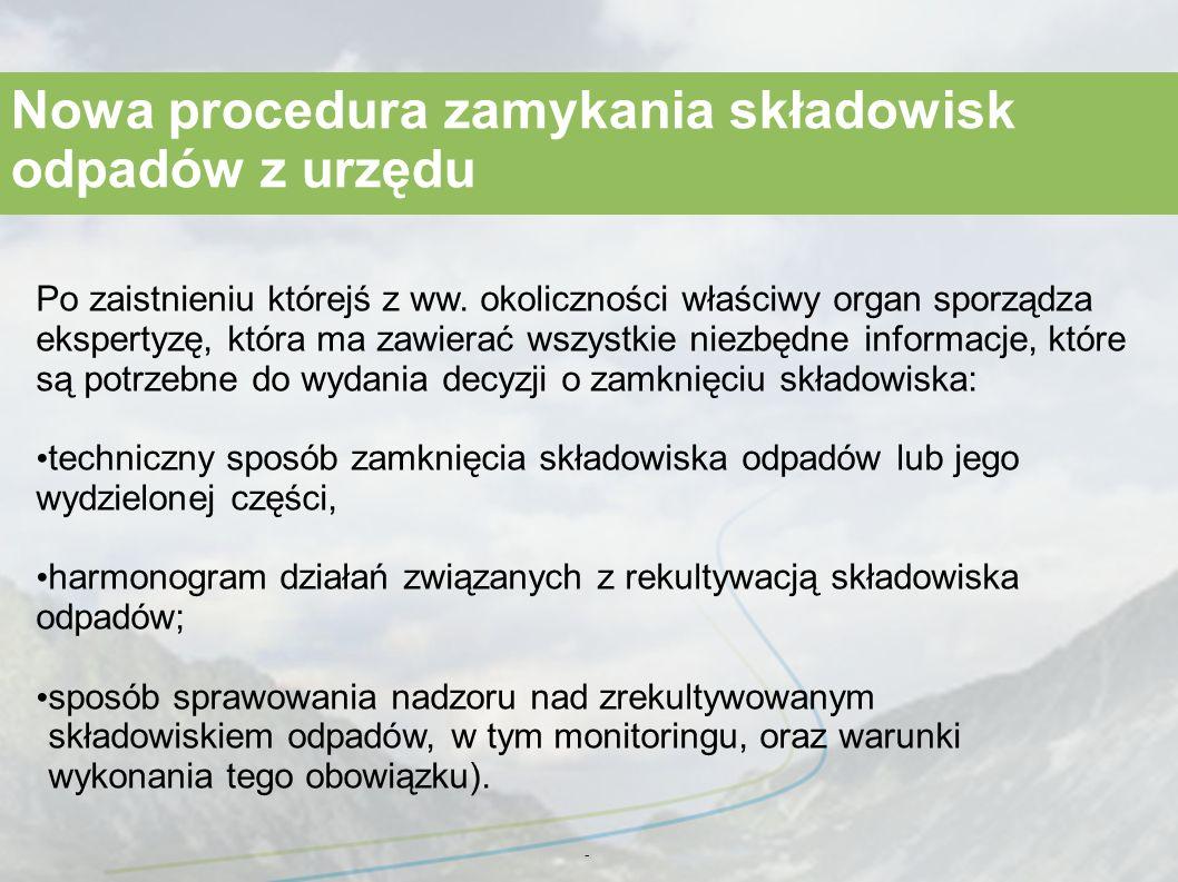 - Nowa procedura zamykania składowisk odpadów z urzędu Po zaistnieniu którejś z ww.