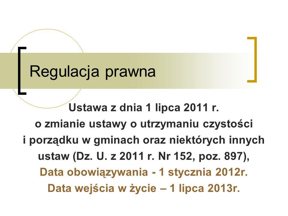 Regulacja prawna Ustawa z dnia 1 lipca 2011 r. o zmianie ustawy o utrzymaniu czystości i porządku w gminach oraz niektórych innych ustaw (Dz. U. z 201
