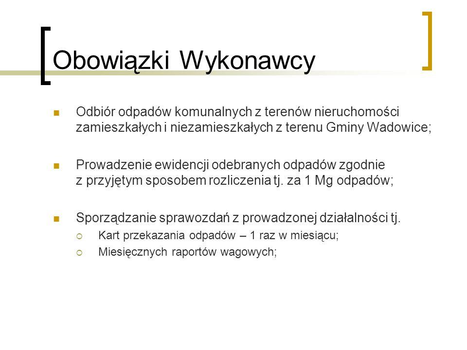 Obowiązki Wykonawcy Odbiór odpadów komunalnych z terenów nieruchomości zamieszkałych i niezamieszkałych z terenu Gminy Wadowice; Prowadzenie ewidencji