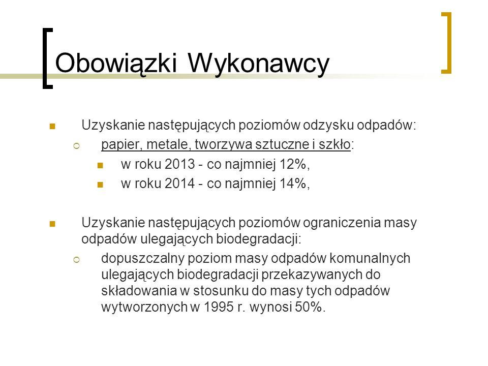 Obowiązki Wykonawcy Uzyskanie następujących poziomów odzysku odpadów:  papier, metale, tworzywa sztuczne i szkło: w roku 2013 - co najmniej 12%, w ro