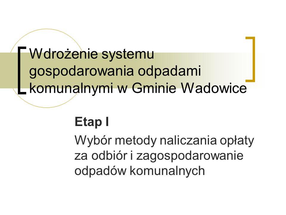 Wdrożenie systemu gospodarowania odpadami komunalnymi w Gminie Wadowice Etap II Unormowanie prawne nowego systemu gospodarowania odpadami komunalnymi na terenie Gminy