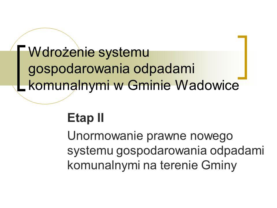 Wdrożenie systemu gospodarowania odpadami komunalnymi w Gminie Wadowice Etap II Unormowanie prawne nowego systemu gospodarowania odpadami komunalnymi