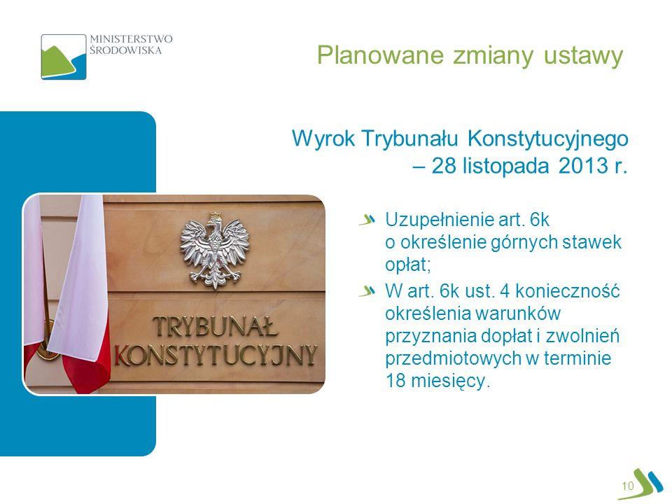 Planowane zmiany ustawy Wyrok Trybunału Konstytucyjnego – 28 listopada 2013 r. Uzupełnienie art. 6k o określenie górnych stawek opłat; W art. 6k ust.