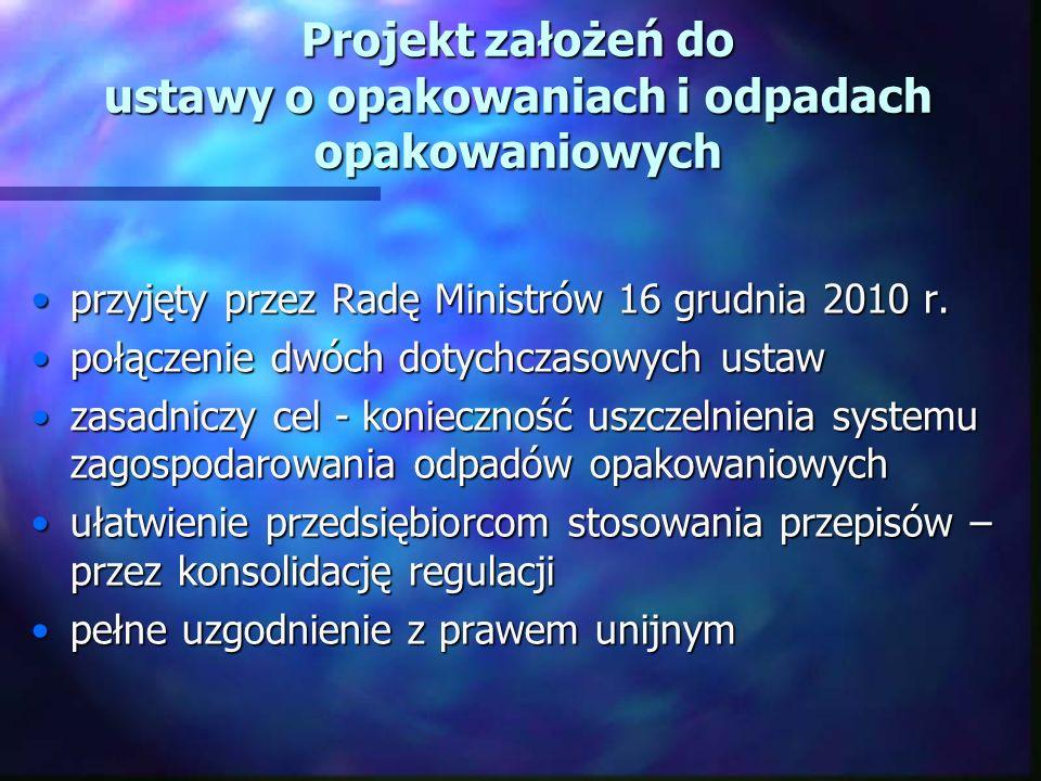 Projekt założeń do ustawy o opakowaniach i odpadach opakowaniowych przyjęty przez Radę Ministrów 16 grudnia 2010 r.przyjęty przez Radę Ministrów 16 grudnia 2010 r.