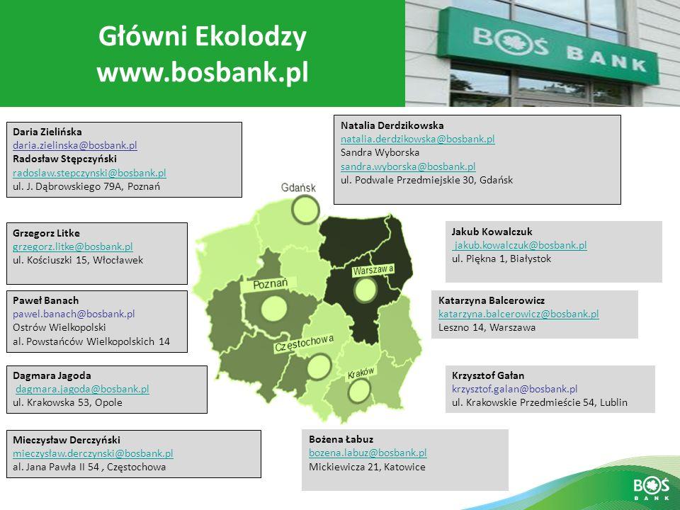 Slajd 14 z 16 Główni Ekolodzy www.bosbank.pl Natalia Derdzikowska natalia.derdzikowska@bosbank.pl Sandra Wyborska sandra.wyborska@bosbank.pl ul. Podwa