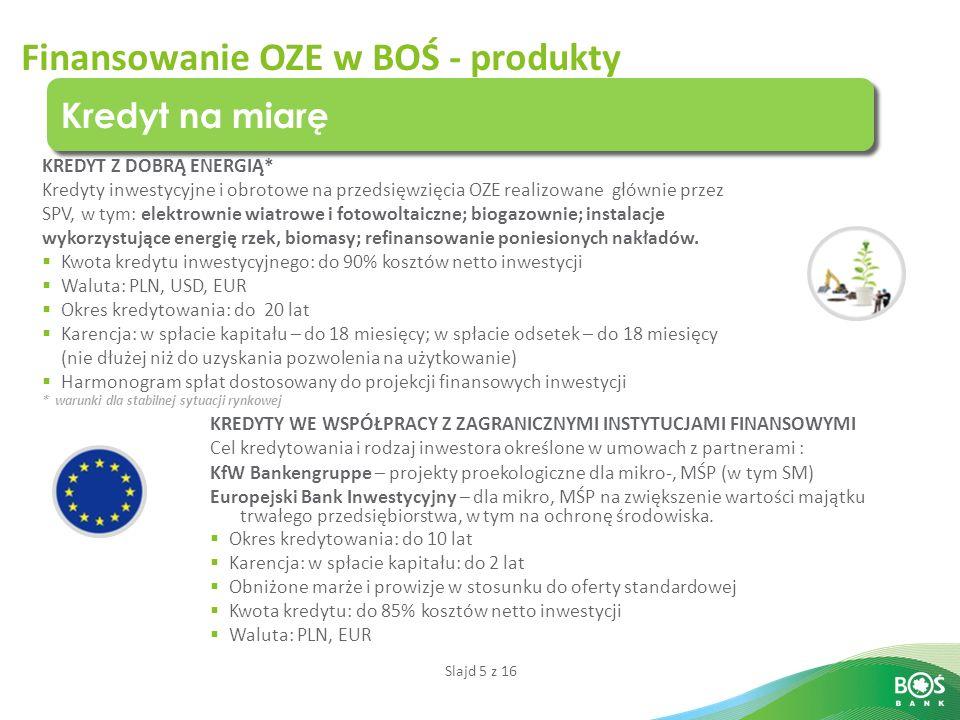Slajd 5 z 16 Finansowanie OZE w BOŚ - produkty Kredyt na miarę KREDYT Z DOBRĄ ENERGIĄ* Kredyty inwestycyjne i obrotowe na przedsięwzięcia OZE realizowane głównie przez SPV, w tym: elektrownie wiatrowe i fotowoltaiczne; biogazownie; instalacje wykorzystujące energię rzek, biomasy; refinansowanie poniesionych nakładów.