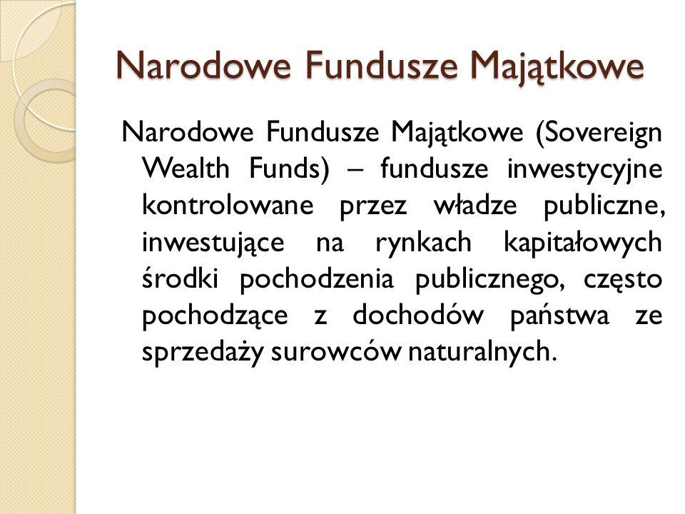 Narodowe Fundusze Majątkowe Narodowe Fundusze Majątkowe (Sovereign Wealth Funds) – fundusze inwestycyjne kontrolowane przez władze publiczne, inwestujące na rynkach kapitałowych środki pochodzenia publicznego, często pochodzące z dochodów państwa ze sprzedaży surowców naturalnych.