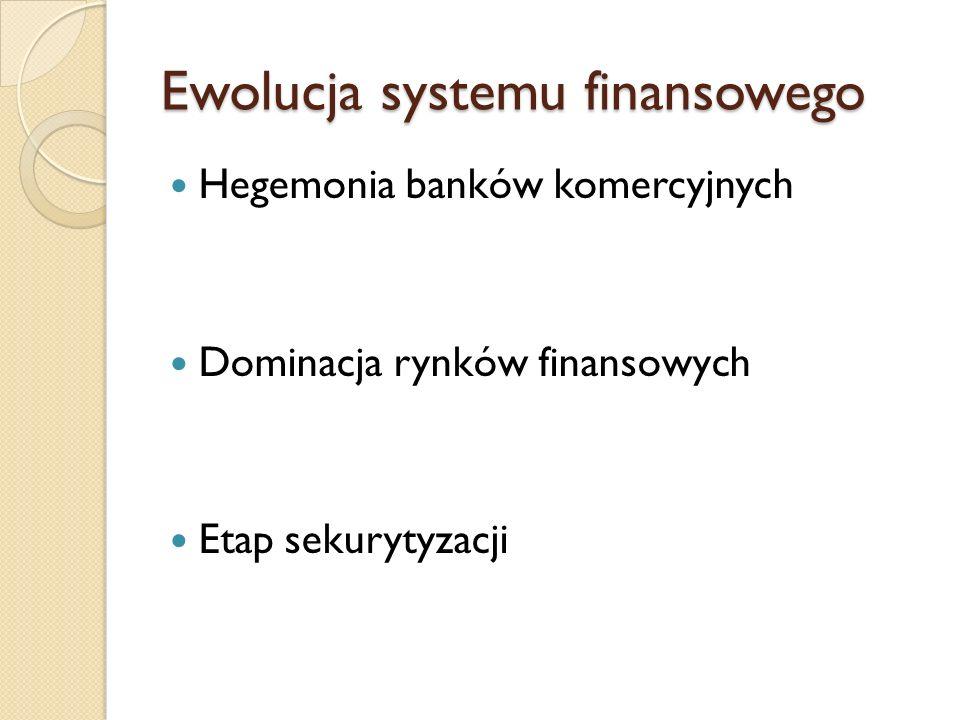 Ewolucja systemu finansowego Hegemonia banków komercyjnych Dominacja rynków finansowych Etap sekurytyzacji