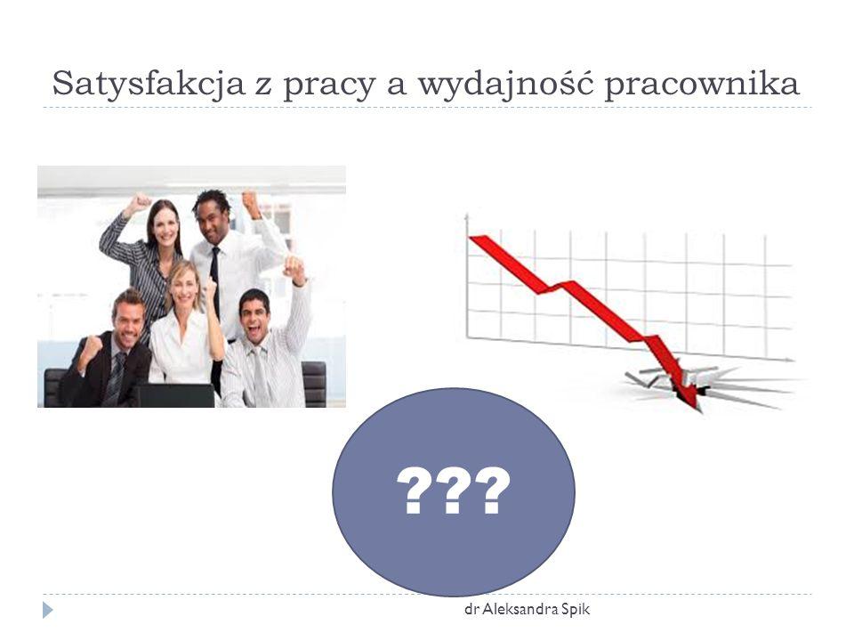 Satysfakcja z pracy a wydajność pracownika dr Aleksandra Spik ???