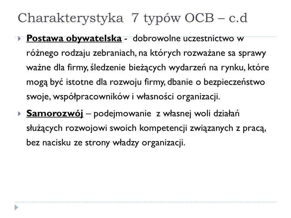 Charakterystyka 7 typów OCB – c.d  Postawa obywatelska - dobrowolne uczestnictwo w różnego rodzaju zebraniach, na których rozważane sa sprawy ważne d