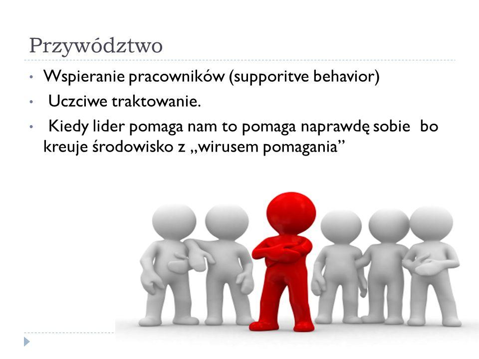 """Przywództwo Wspieranie pracowników (supporitve behavior) Uczciwe traktowanie. Kiedy lider pomaga nam to pomaga naprawdę sobie bo kreuje środowisko z """""""