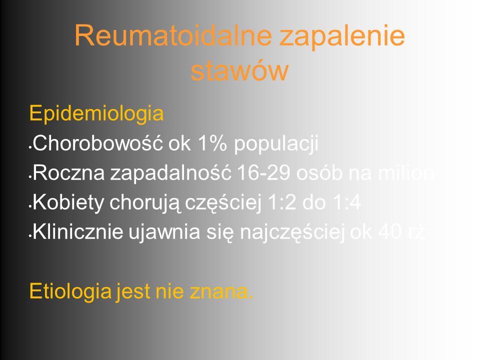 Reumatoidalne zapalenie stawów Epidemiologia Chorobowość ok 1% populacji Roczna zapadalność 16-29 osób na milion Kobiety chorują częściej 1:2 do 1:4 K