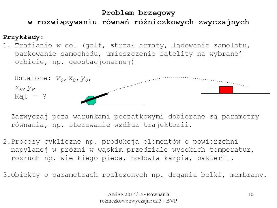 ANiSS 2014/15 - Równania różniczkowe zwyczajne cz.3 - BVP 10 Problem brzegowy w rozwiązywaniu równań różniczkowych zwyczajnych Przykłady: 1. Trafianie