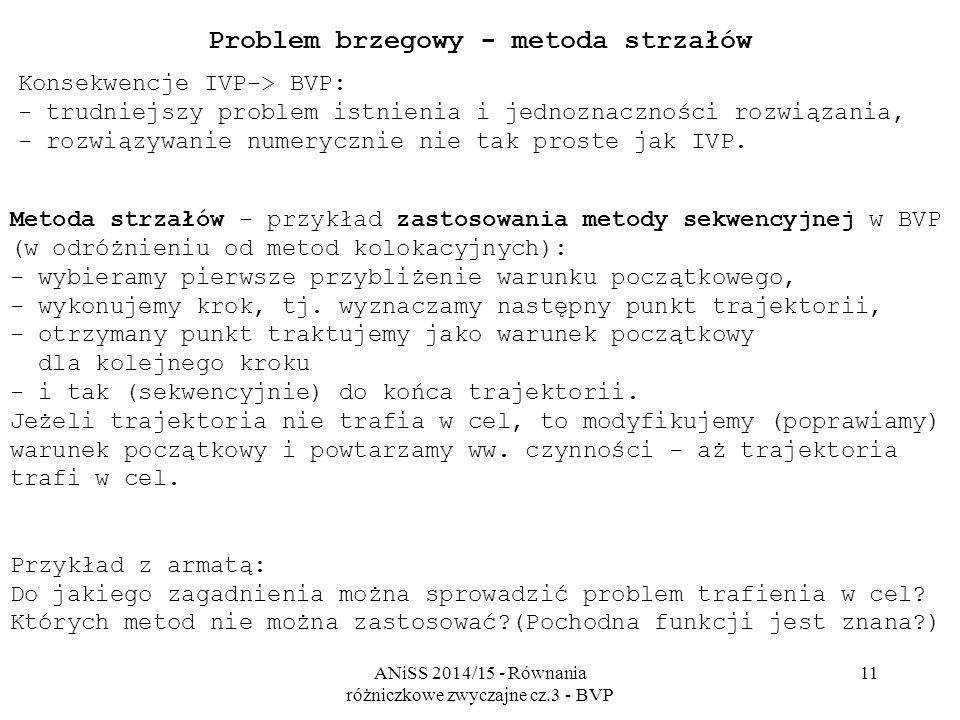 ANiSS 2014/15 - Równania różniczkowe zwyczajne cz.3 - BVP 11 Problem brzegowy - metoda strzałów Konsekwencje IVP-> BVP: - trudniejszy problem istnienia i jednoznaczności rozwiązania, - rozwiązywanie numerycznie nie tak proste jak IVP.