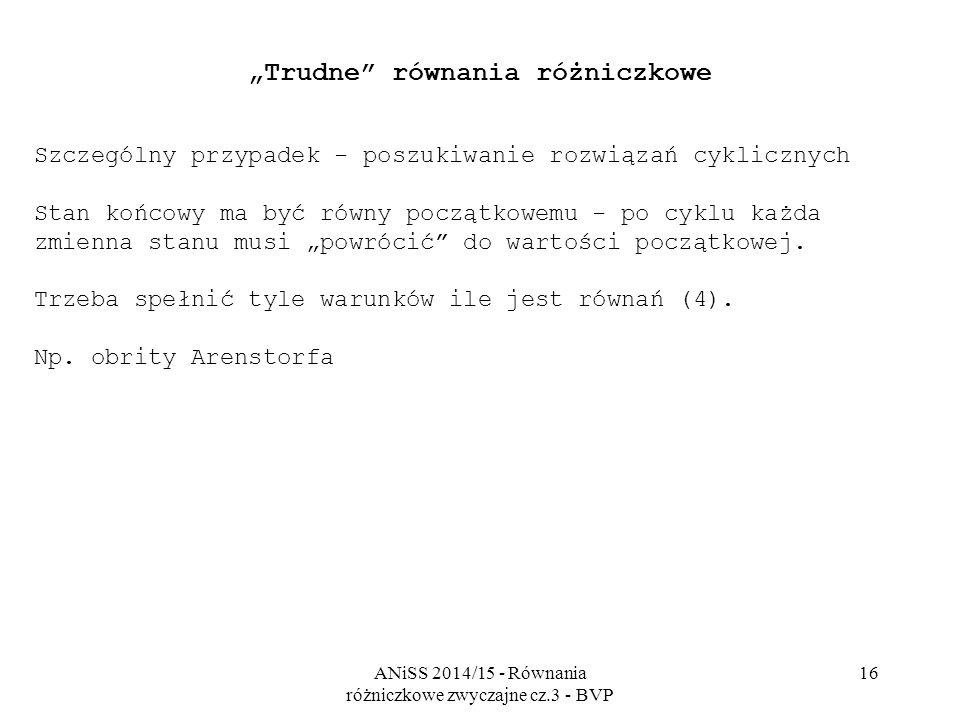 """ANiSS 2014/15 - Równania różniczkowe zwyczajne cz.3 - BVP 16 """"Trudne"""" równania różniczkowe Szczególny przypadek - poszukiwanie rozwiązań cyklicznych S"""