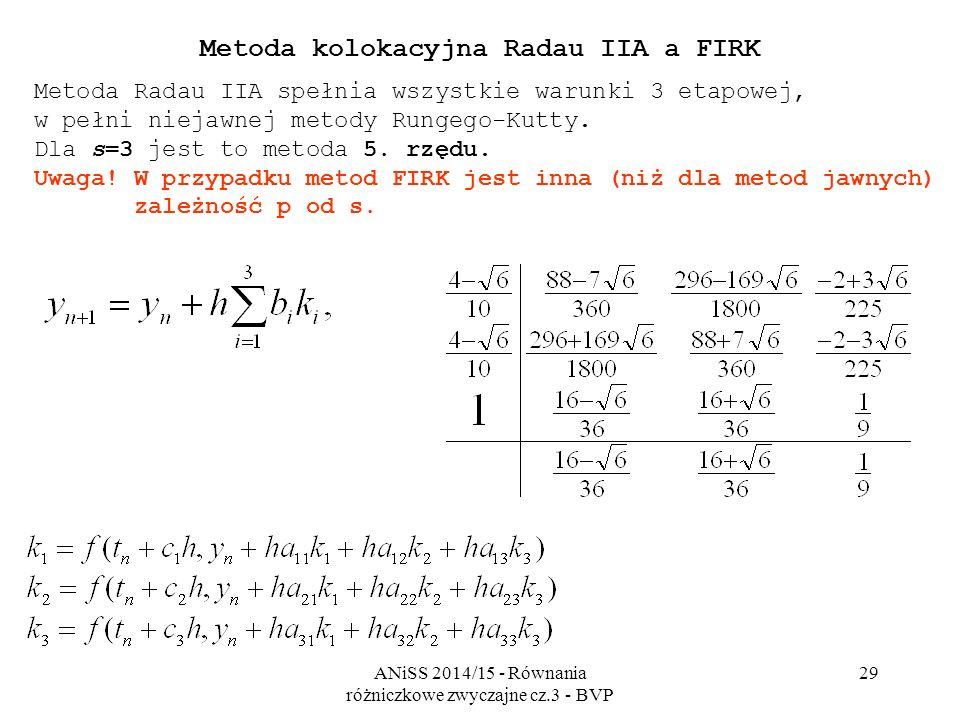 ANiSS 2014/15 - Równania różniczkowe zwyczajne cz.3 - BVP 29 Metoda kolokacyjna Radau IIA a FIRK Metoda Radau IIA spełnia wszystkie warunki 3 etapowej, w pełni niejawnej metody Rungego-Kutty.