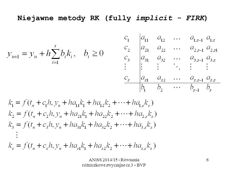 ANiSS 2014/15 - Równania różniczkowe zwyczajne cz.3 - BVP 6 Niejawne metody RK (fully implicit - FIRK)