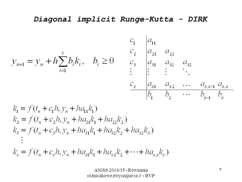 ANiSS 2014/15 - Równania różniczkowe zwyczajne cz.3 - BVP 7 Diagonal implicit Runge-Kutta - DIRK