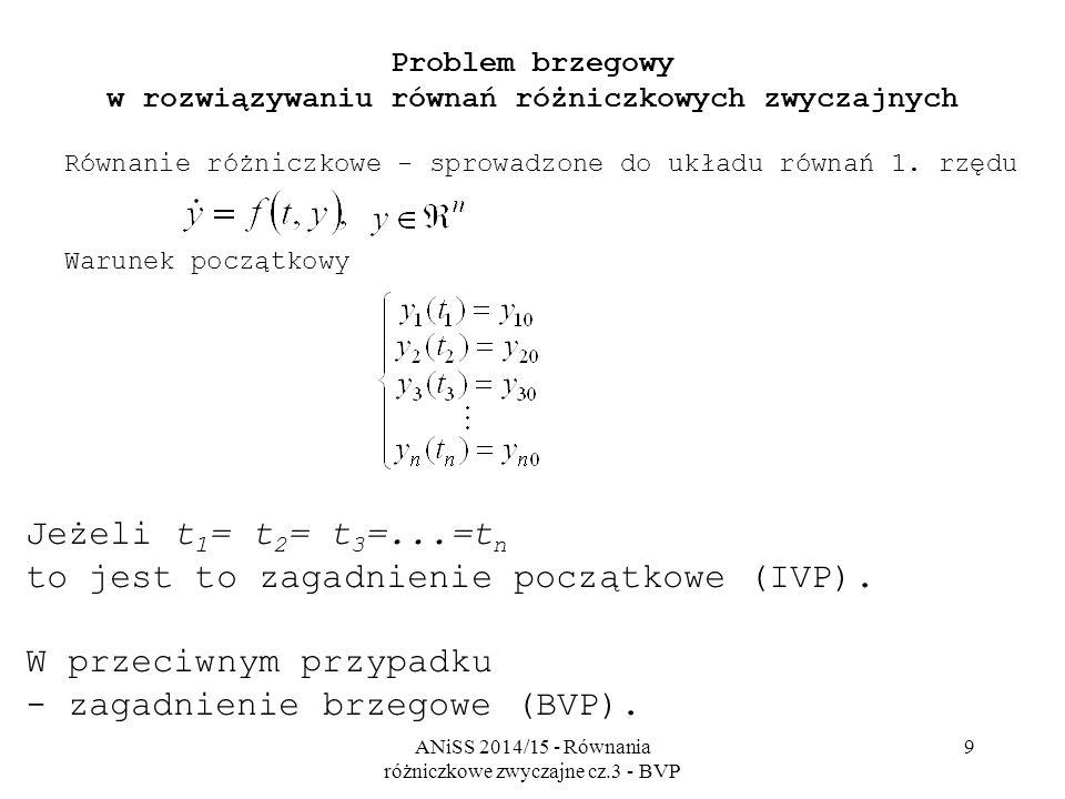 ANiSS 2014/15 - Równania różniczkowe zwyczajne cz.3 - BVP 9 Problem brzegowy w rozwiązywaniu równań różniczkowych zwyczajnych Równanie różniczkowe - sprowadzone do układu równań 1.