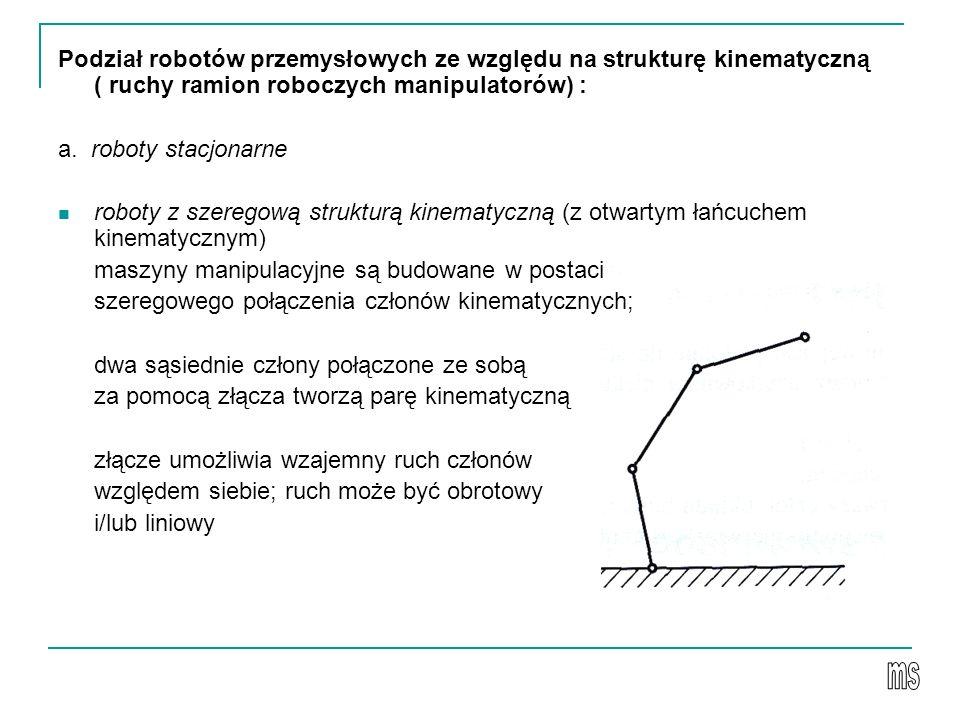 Podział robotów przemysłowych ze względu na strukturę kinematyczną ( ruchy ramion roboczych manipulatorów) : a. roboty stacjonarne roboty z szeregową