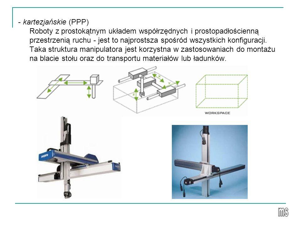 - kartezjańskie (PPP) Roboty z prostokątnym układem współrzędnych i prostopadłościenną przestrzenią ruchu - jest to najprostsza spośród wszystkich konfiguracji.