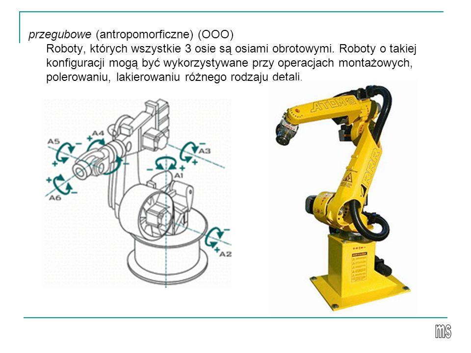 przegubowe (antropomorficzne) (OOO) Roboty, których wszystkie 3 osie są osiami obrotowymi. Roboty o takiej konfiguracji mogą być wykorzystywane przy o