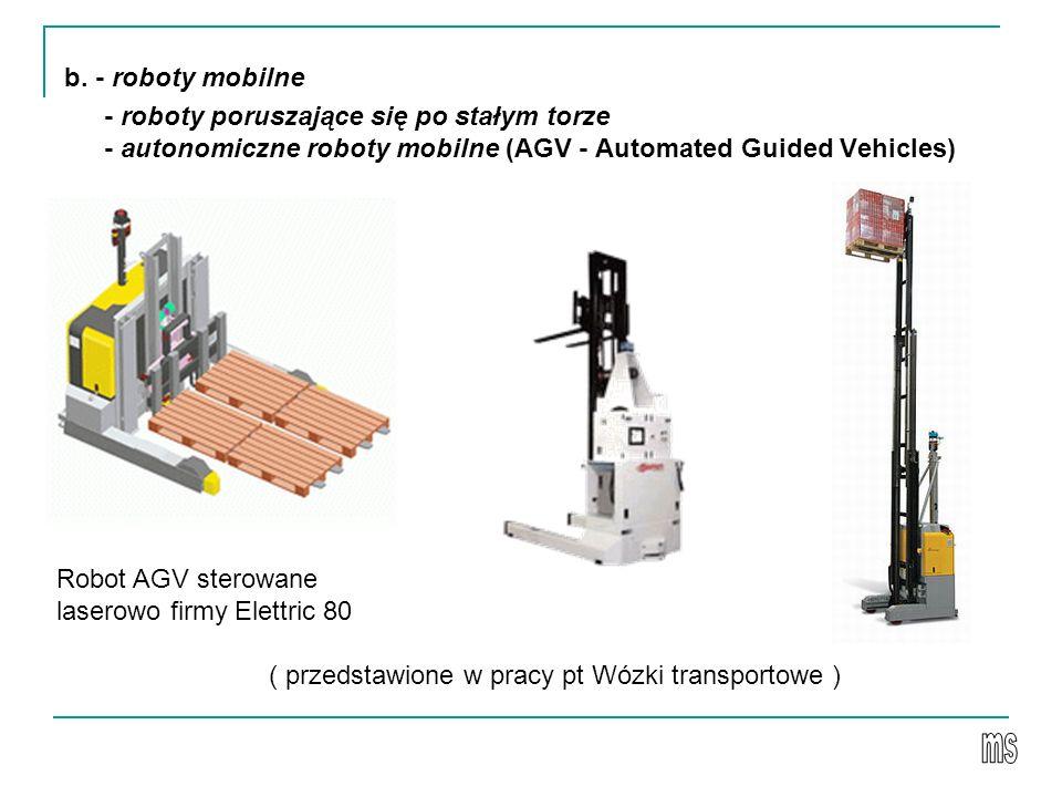 b. - roboty mobilne - roboty poruszające się po stałym torze - autonomiczne roboty mobilne (AGV - Automated Guided Vehicles) Robot AGV sterowane laser