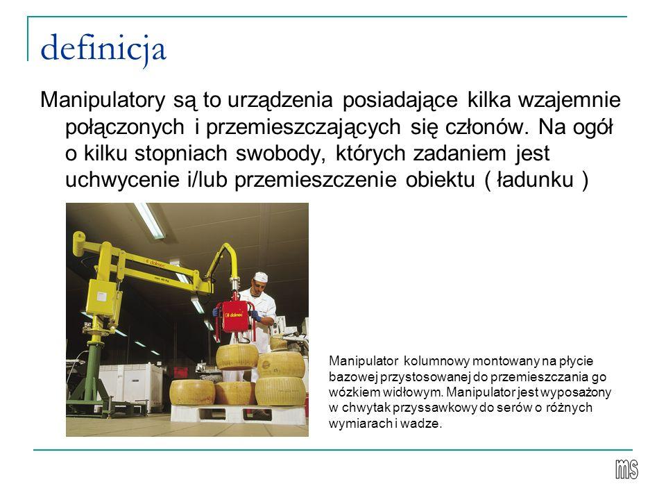 definicja Manipulatory są to urządzenia posiadające kilka wzajemnie połączonych i przemieszczających się członów.
