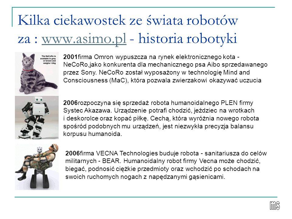 Kilka ciekawostek ze świata robotów za : www.asimo.pl - historia robotykiwww.asimo.pl 2001firma Omron wypuszcza na rynek elektronicznego kota - NeCoRo