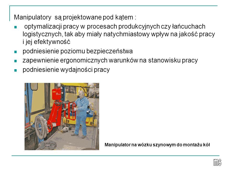 Manipulatory są projektowane pod kątem : optymalizacji pracy w procesach produkcyjnych czy łańcuchach logistycznych, tak aby miały natychmiastowy wpływ na jakość pracy i jej efektywność podniesienie poziomu bezpieczeństwa zapewnienie ergonomicznych warunków na stanowisku pracy podniesienie wydajności pracy Manipulator na wózku szynowym do montażu kół