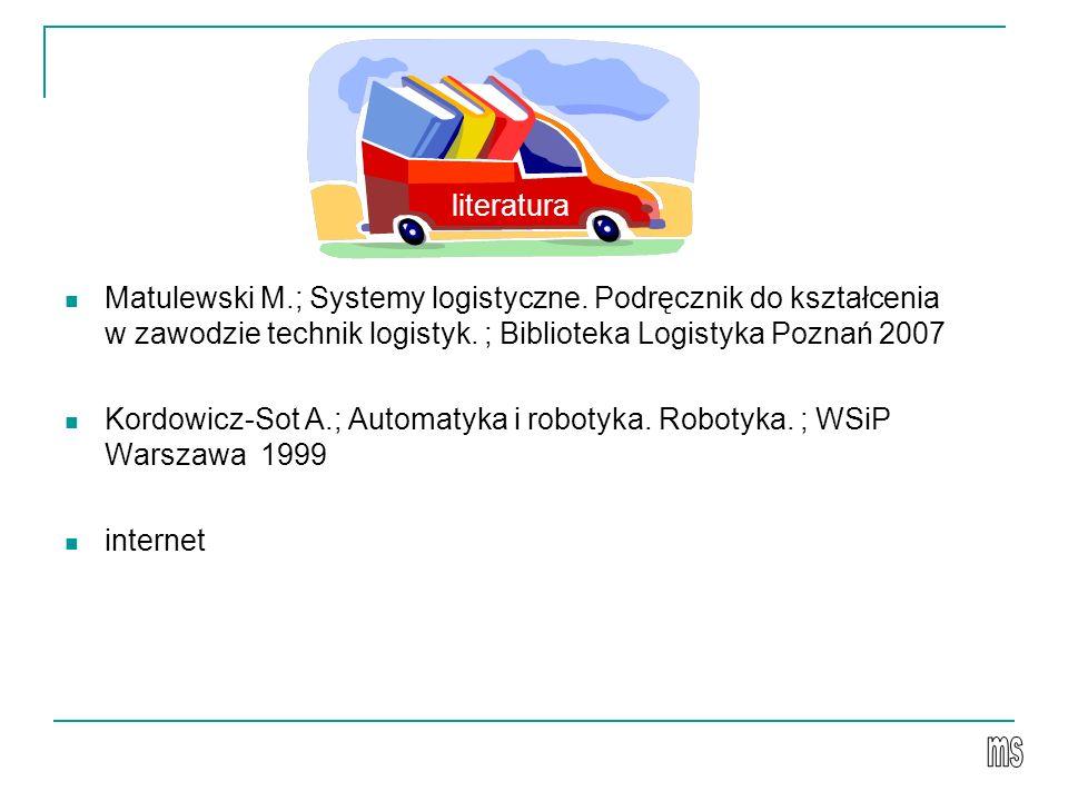 Matulewski M.; Systemy logistyczne. Podręcznik do kształcenia w zawodzie technik logistyk. ; Biblioteka Logistyka Poznań 2007 Kordowicz-Sot A.; Automa