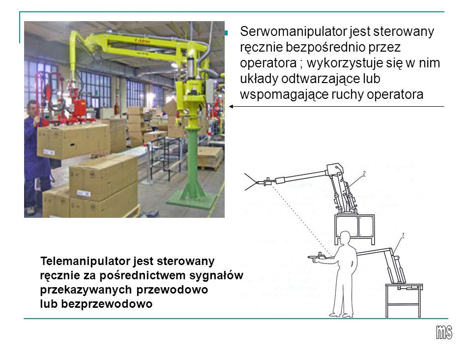 Serwomanipulator jest sterowany ręcznie bezpośrednio przez operatora ; wykorzystuje się w nim układy odtwarzające lub wspomagające ruchy operatora Telemanipulator jest sterowany ręcznie za pośrednictwem sygnałów przekazywanych przewodowo lub bezprzewodowo