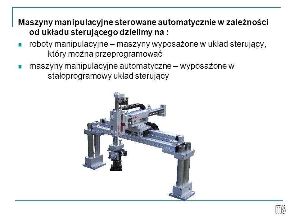 Maszyny manipulacyjne sterowane automatycznie w zależności od układu sterującego dzielimy na : roboty manipulacyjne – maszyny wyposażone w układ sterujący, który można przeprogramować maszyny manipulacyjne automatyczne – wyposażone w stałoprogramowy układ sterujący