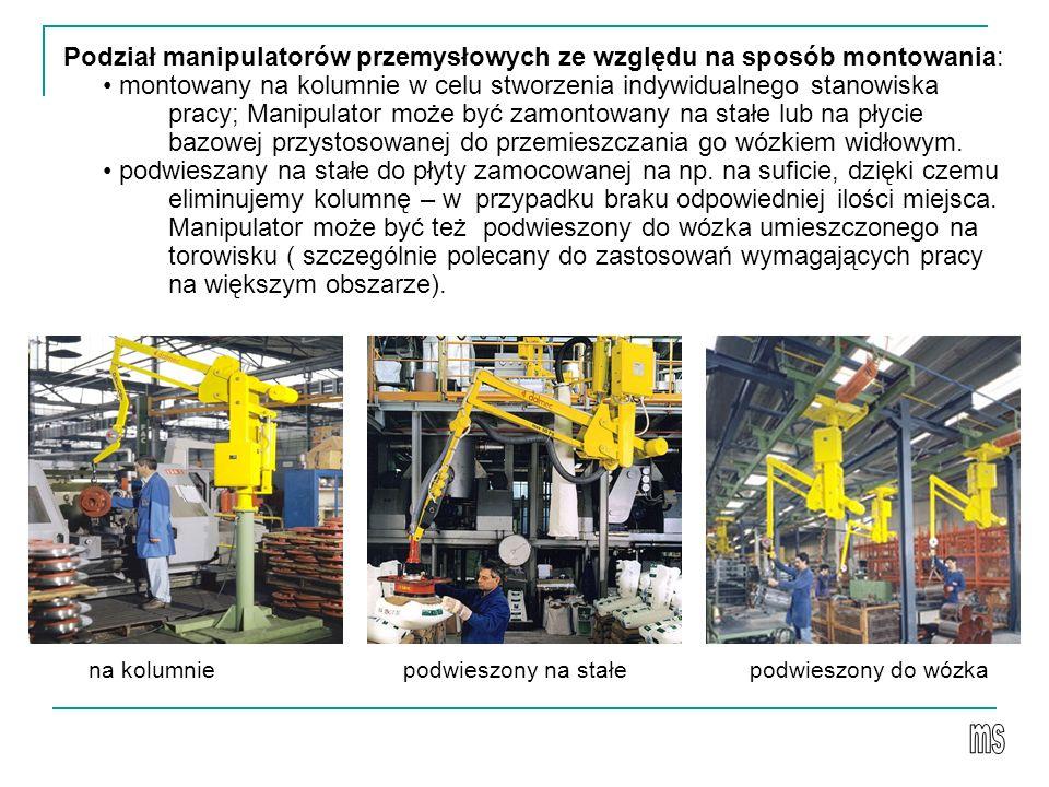 Podział manipulatorów przemysłowych ze względu na sposób montowania: montowany na kolumnie w celu stworzenia indywidualnego stanowiska pracy; Manipulator może być zamontowany na stałe lub na płycie bazowej przystosowanej do przemieszczania go wózkiem widłowym.