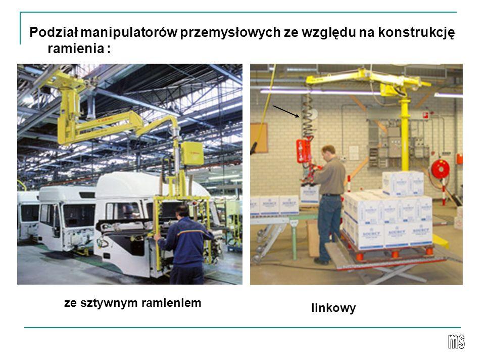 Podział manipulatorów przemysłowych ze względu na konstrukcję ramienia : ze sztywnym ramieniem linkowy